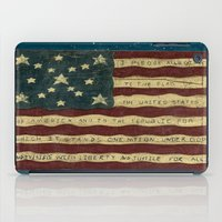 american flag iPad Cases featuring American Flag by Argi Univrs