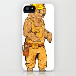 Construction Worker Grizzly Bear iPhone Case