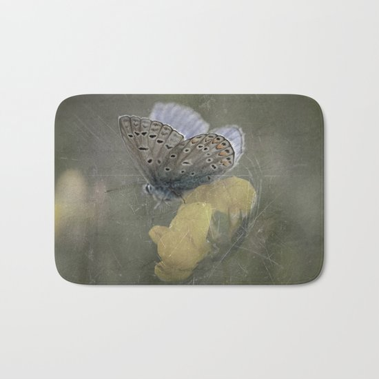 Blue butterfly on blossom Vintage Photography Bath Mat
