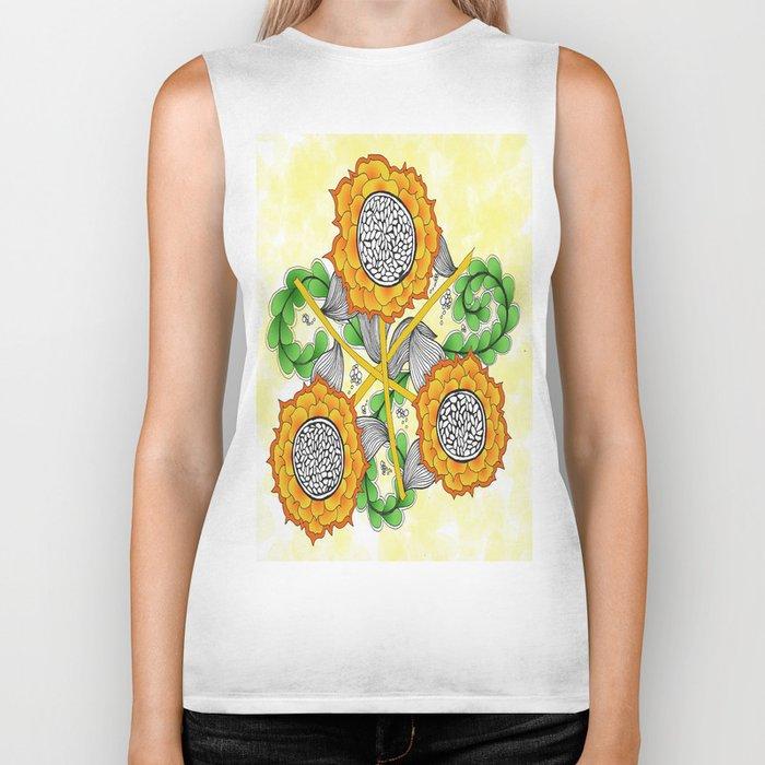 Zentangle Happy Yellow and Orange Sunflowers Biker Tank
