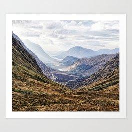 View of Glen Etive from Glencoe, Scotland Art Print