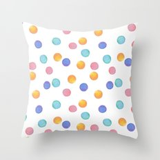 Watercolor . Multi-colored polka dots . Throw Pillow
