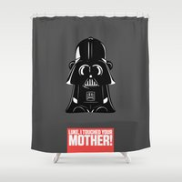 ape Shower Curtains featuring Ape Vader by Michael Deeg