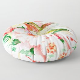Hummingbird, Hawaiian Design, Hibiscus and Hummingbird Floor Pillow
