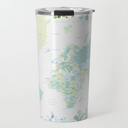 Mint and green floral world map with cities Travel Mug