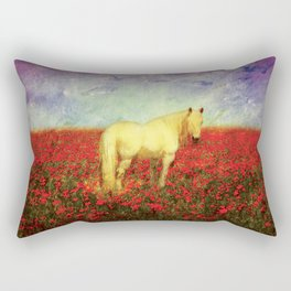 Horse in Flowers Rectangular Pillow