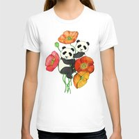 pandas T-shirts featuring Poppies & Pandas by micklyn