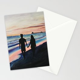 Lovers Stroll by the Beach Stationery Cards