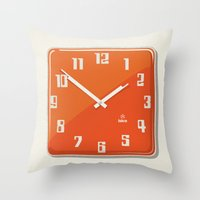 wall clock Throw Pillows featuring Wall clock for public facilities HA8 - Iskra by Jus Project