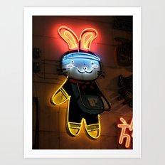 Neon Bunny  Art Print