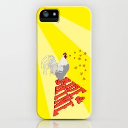 Morning Rooster Rise and Shine Typography Illustrated Print iPhone Case