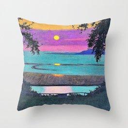 12,000pixel-500dpi - Felix Edouard Vallotton - Sunset at Grace, orange and violet sky Throw Pillow