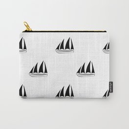 Black Sailboat Pattern Carry-All Pouch