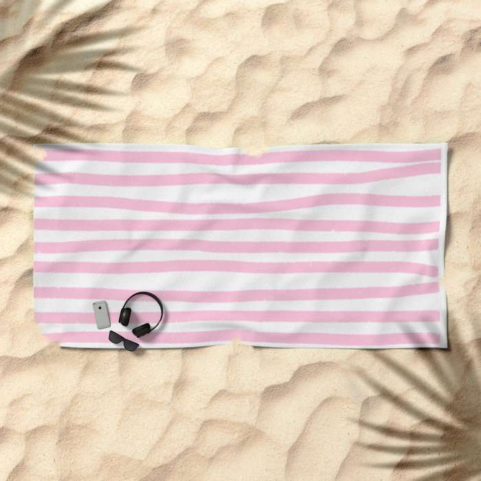 Pink Stripes Horizontal Beach Towel
