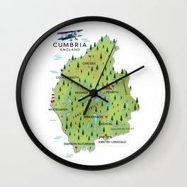 Cumbria England Map Wall Clock