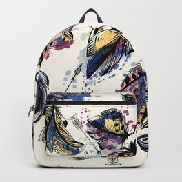 Be wild. Boho watercolor feathers. Fashion Backpack