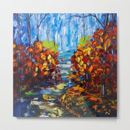 Misty Path oil painting with a Palette Knife Metal Print