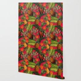 Vintage & Shabby Chic - Hot Summer Pineapple Tropical Flower Garden Wallpaper