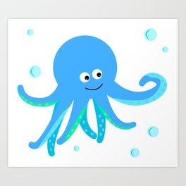 Blue baby octopus Art Print