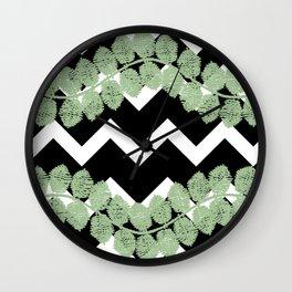 Blkwhtchevronstripeleafvine Wall Clock