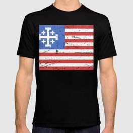 United States Flag With Knights Templar Cross T-shirt