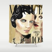 vogue Shower Curtains featuring VOGUE I by Irene D'Anto'