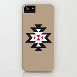 Navajo Aztec Pattern Black White Red on Light Brown iPhone Case