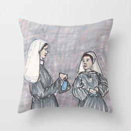 Two Nuns Throw Pillow