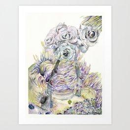 Roses and Sea Anemones Art Print