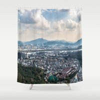 seoul Shower Curtains featuring Seoul from Namsan Mountain by Jennifer Stinson