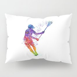 Lacrosse Girl Colorful Watercolor Sports Art Gift Pillow Sham