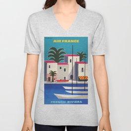 Vintage poster - French Riviera Unisex V-Neck