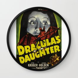 Dracula´s Daughter, vintage horror movie poster Wall Clock