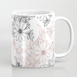 Hand drawn black faux rose gold floral Coffee Mug