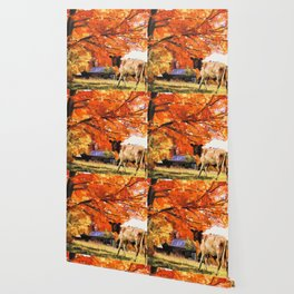 Autumn Tree with Cow on Farm (Color) Wallpaper