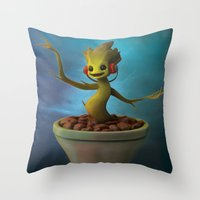 groot Throw Pillows featuring Groot! by Drogyn