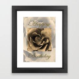 Happy Birthday Sepia Rose Framed Art Print