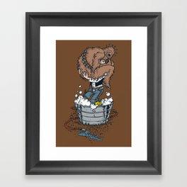 take a bath fuzzball  Framed Art Print
