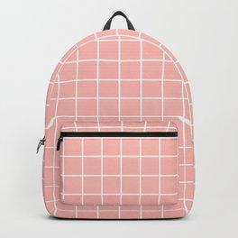 Melancholy - pink color - White Lines Grid Pattern Backpack
