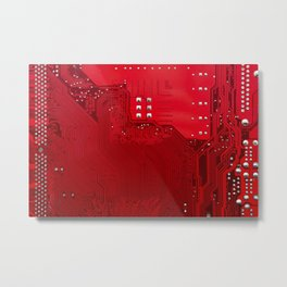 red electronic circuit board Metal Print