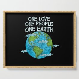 One Love One People Planet Climat Change Earth Day Serving Tray