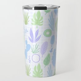 Abstract hand painted geometrical cactus floral leaves Travel Mug