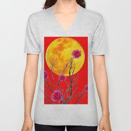 RED SURREAL FULL MOON & PINK WINTER ROSES Unisex V-Neck