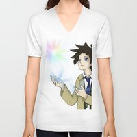 castiel V-neck T-shirts featuring Castiel by buttsp8jr