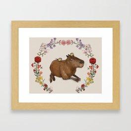 Capybara in Flower Wreath Framed Art Print