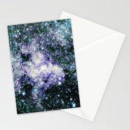 Galaxy Sparkle Stars Teal Aqua Purple Stationery Cards