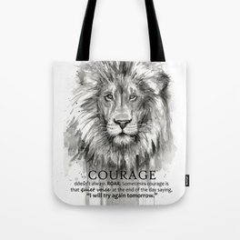 Lion Courage Motivational Quote Watercolor Painting Tote Bag
