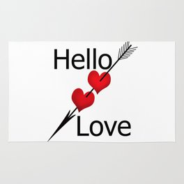 Hello love! White background . Rug