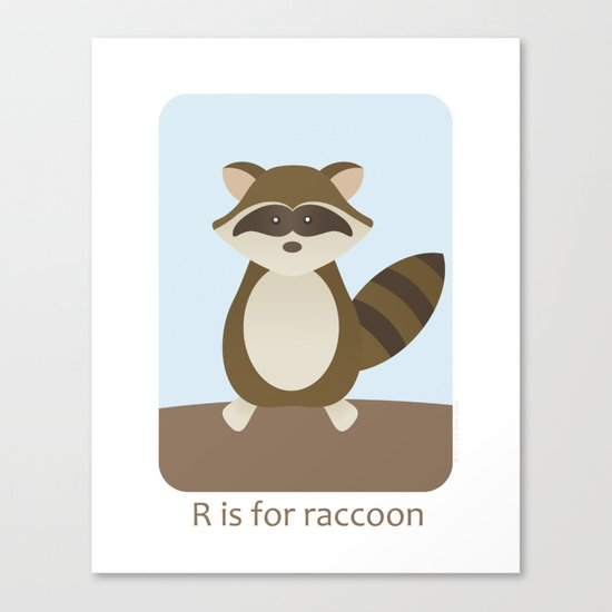 R is for Raccoon - Woodland Animals Canvas Print