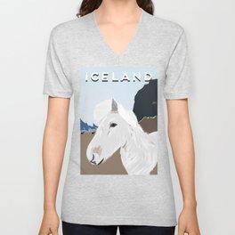 Icelandic Horse, Iceland Travel Poster Unisex V-Neck